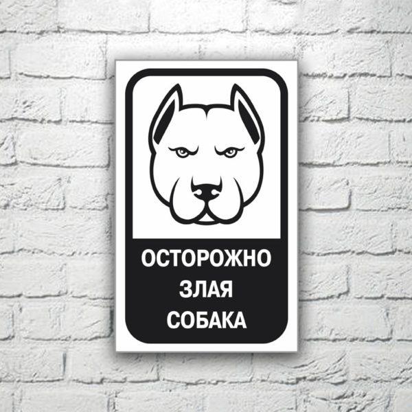 Табличка Осторожно злая собака 13х20 см (код 90703.1)