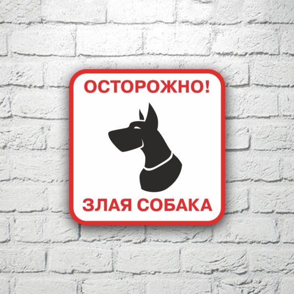 Табличка Осторожно злая собака 20х20 см (код 90709)