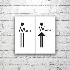 Комплект табличек для туалета 8х15 см, 2 шт. (код 90810)