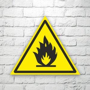Табличка Пожароопасно. Легковоспламеняющиеся вещества 22х19 см (код 90629)
