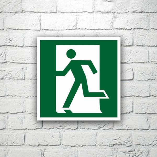 Знак Выход здесь (левосторонний) 15х15 см (код 90510)