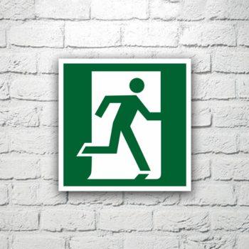 Знак Выход здесь (правосторонний) 15х15 см (код 90511)