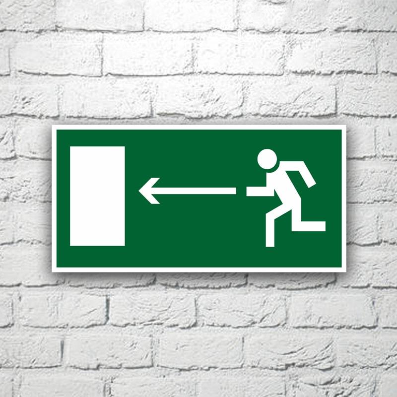 Знак Направление к эвакуационному выходу (налево) 30х15 см (код 90518)