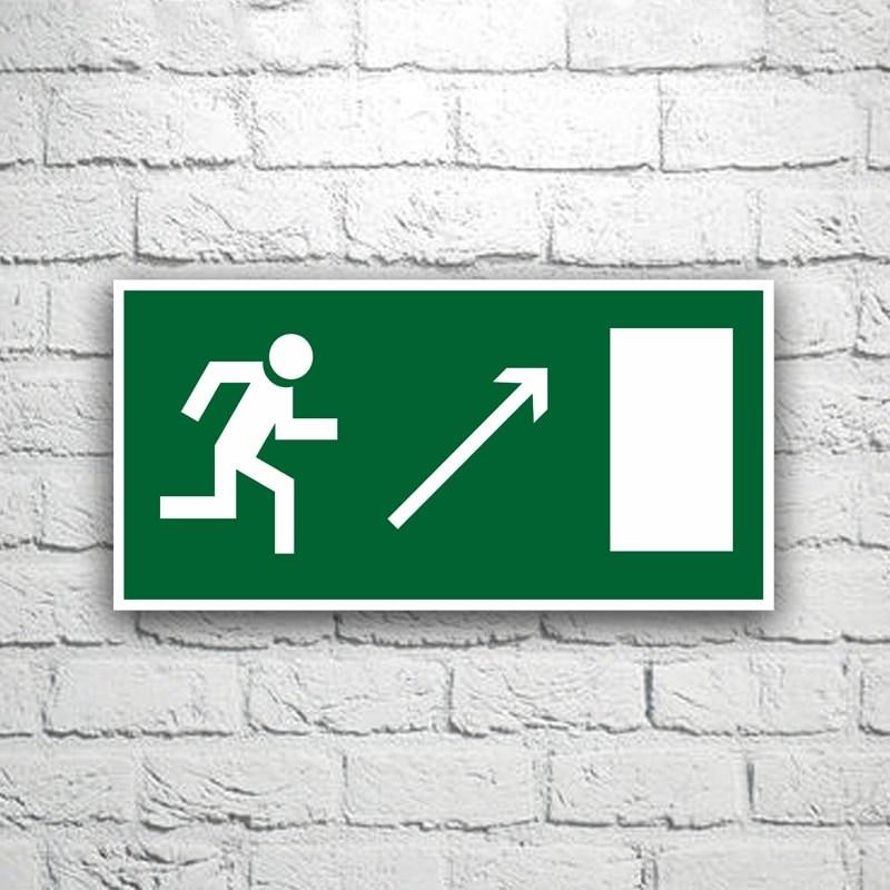 Знак Направление к эвакуационному выходу (направо вверх) 30х15 см (код 90524)