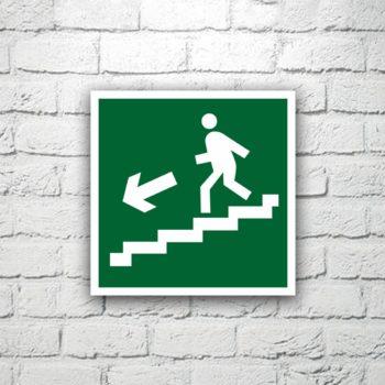 Знак Направление к эвакуационному выходу (по лестнице вниз налево) 15х15 см (код 90513)